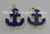NGP3222 38*42mm - 40*45mm anchor lapis lazuli gemstone pendants
