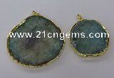 NGP3776 45*50mm - 55*60mm freeform druzy agate pendants