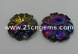 NGP4150 40*45mm - 50*55mm flower plated druzy agate pendants