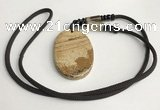 NGP5627 Picture jasper oval pendant with nylon cord necklace