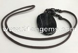 NGP5677 Agate oval pendant with nylon cord necklace