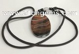 NGP5687 Agate oval pendant with nylon cord necklace
