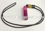 NGP5705 Agate tube pendant with nylon cord necklace