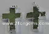 NGP6046 30*40mm - 35*45mm cross green rutilated quartz pendants
