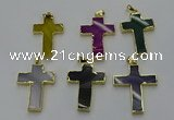 NGP6174 25*40mm - 30*40mm cross agate gemstone pendants