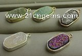 NGP7580 10*15mm oval plated druzy agate pendants wholesale