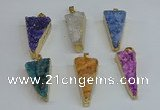NGP8602 13*40mm - 20*35mm triangle druzy agate pendants wholesale