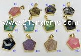 NGP9604 20*20mm faceted pentagon plated druzy agate pendants