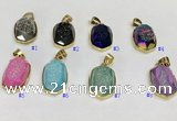NGP9610 15*22mm faceted oval plated druzy agate pendants