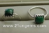 NGR1064 8*8mm square malachite gemstone rings wholesale