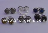 NGR2179 12mm - 14mm coin plated druzy agate rings wholesale