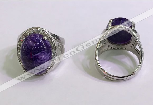 NGR3045 925 sterling silver with 12*16mm oval charoite rings